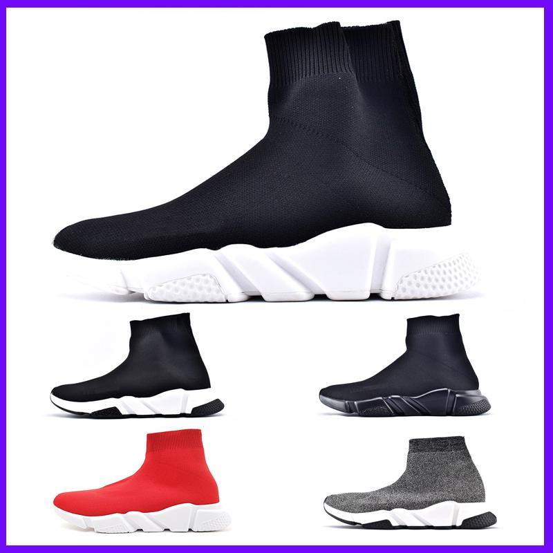 Zapatos superior de la marca de lujo de las zapatillas de deporte de las mujeres de los hombres de París Trainer velocidad Negro Rojo Triple Moda calcetín Botas de alta calidad