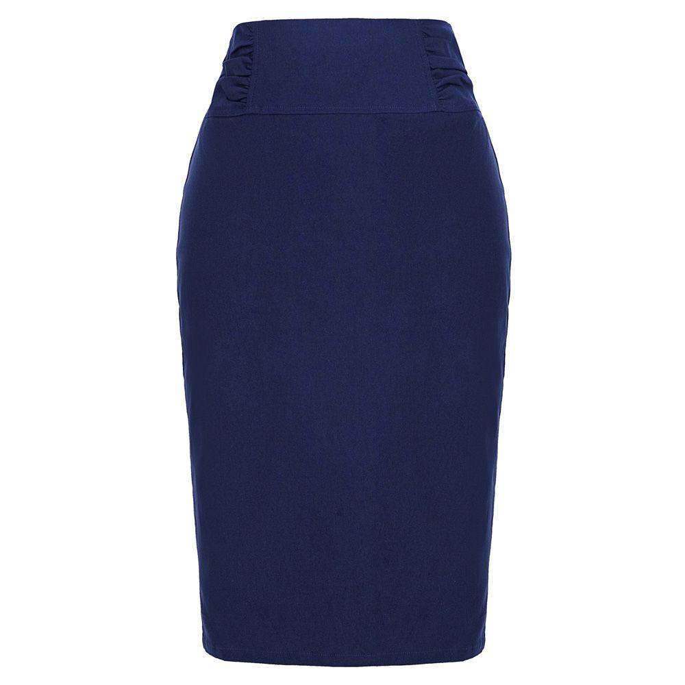 юбки женщин офис леди рабочая одежда бизнес Stretch Высокая талия гофрированная талии Подробно Бедра намоткой тонкий колено твердый карандаш юбка