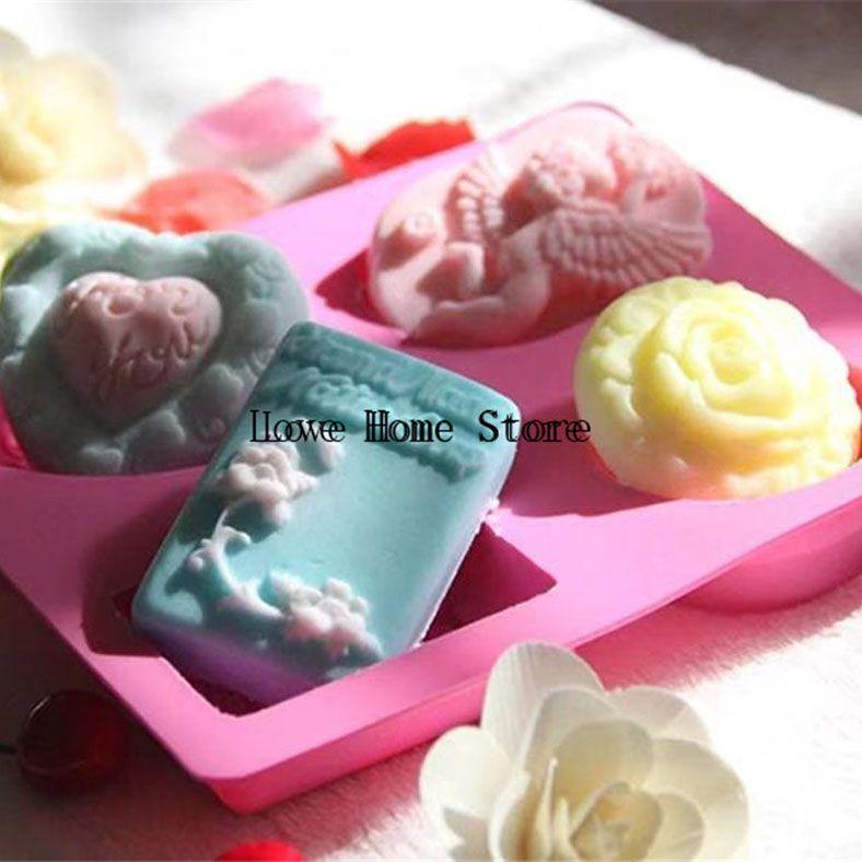 4 in 1 mista forma di fiore angelo del vassoio del silicone della caramella di cioccolato torta stampi vassoio della muffa di Sugarcraft stampo in silicone Marchio Fab decorazioni per torte
