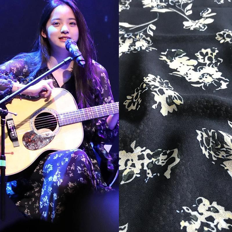 Primavera e autunno mostra il nuovo fiore giallo Stampa Abbigliamento Tessuto Drawable vestito handmade camicia in tessuto poliestere stampato Moda