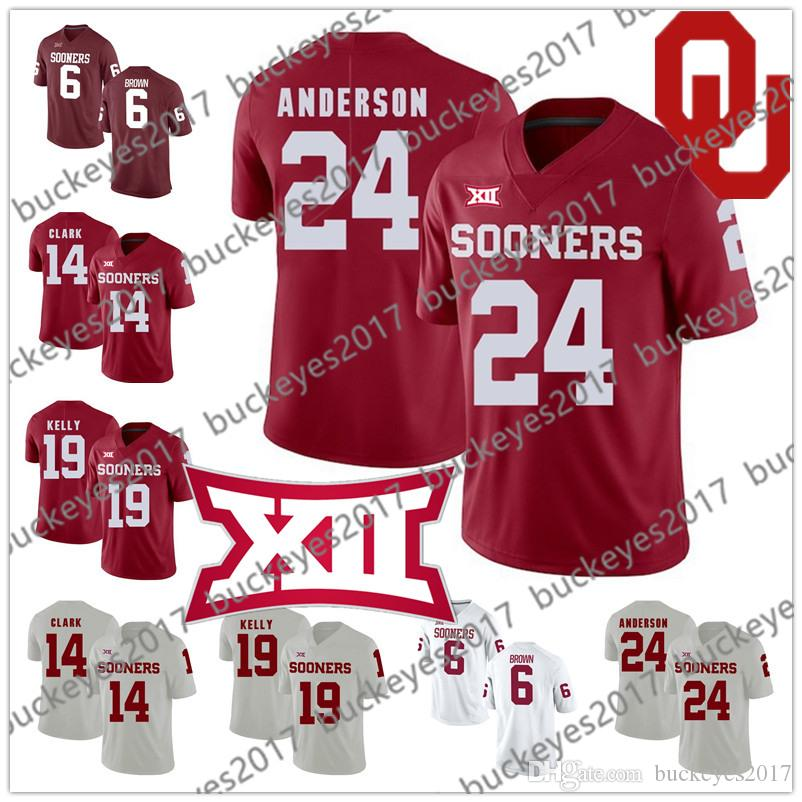 Oklahoma Sooners #24 Rodney Anderson 6 Tre Brown 14 Reece Clark 19 Caleb Kelly Red White Stitched 2019 NCAA College Football Jerseys S-3XL