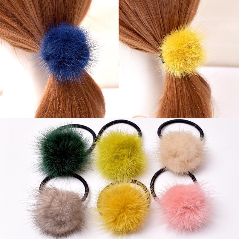 Luxus Nerz Haar Scrunchie elastische Haar-Bänder Solid Color Frauen-Mädchen-Kopfbedeckung Pferdeschwanz-Halter-Haar-Zusätze