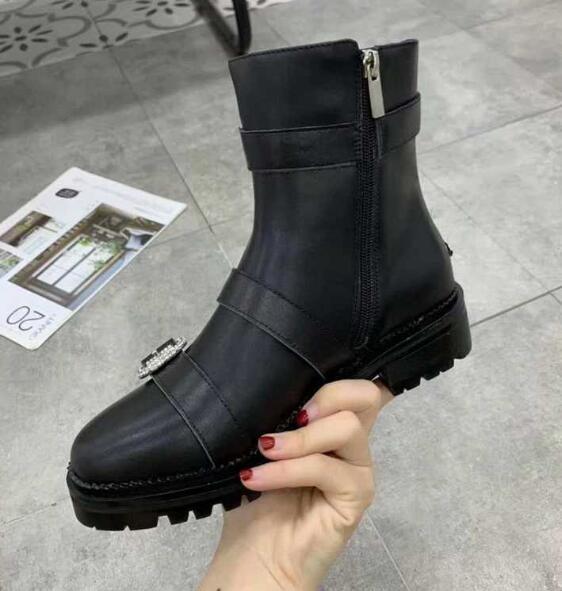 Sıcak Satış-Yeni JC Kadın Kristal Motosiklet Kare Topuk Kar Kış Bilek Boots Martin İnek Deri Botlar SZ35-41 tokaları