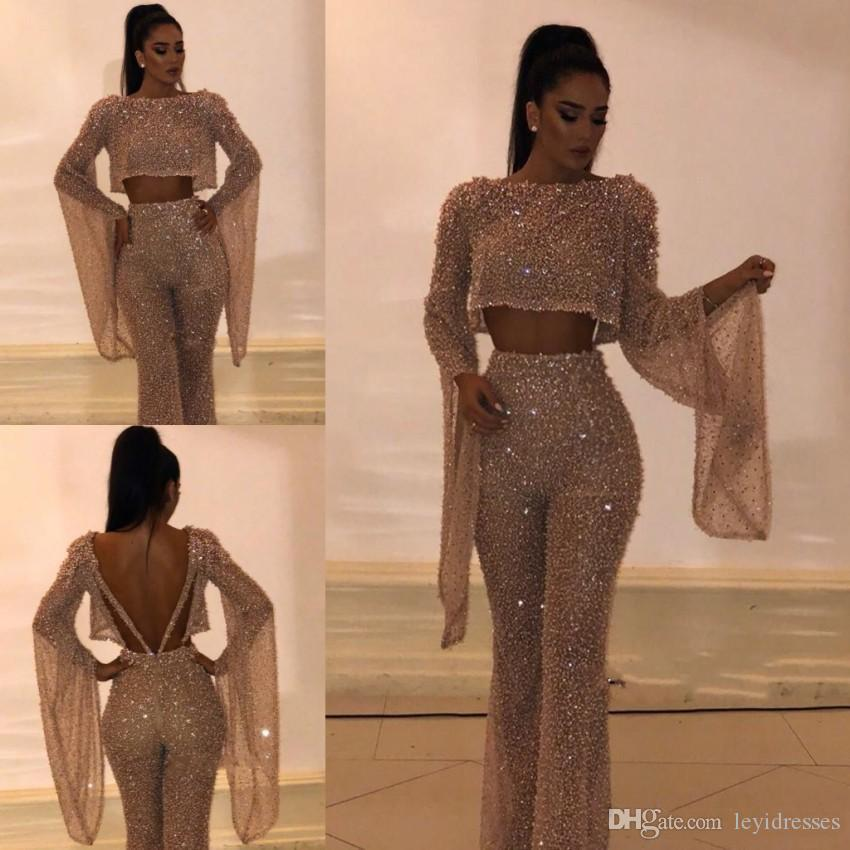 New Design Sequined Prom Dresses Sheath Long Sleeves Backless Formal Dresses Party Evening Gowns Custom Made Pants Suits