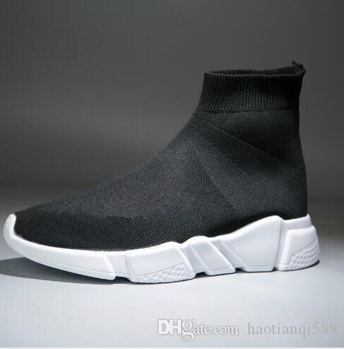 2019 heiße Verkaufs-Mode-Stiefel für Frauen Männer Speed Trainer Red Triple Black flachen Freizeitschuh Socken Stiefel Herren Sneaker Schuhe