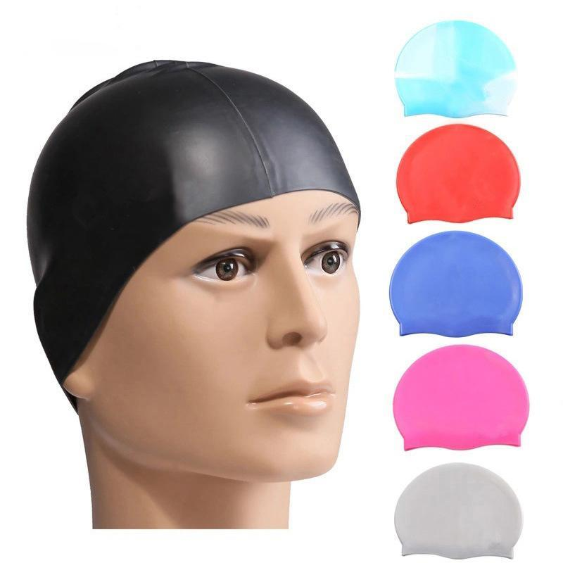 Rainbow Colorful Waterproof Silicone Ear Long Hair Protection Swim Pool Swimming Cap Swimwear Hats for Adults JXW603
