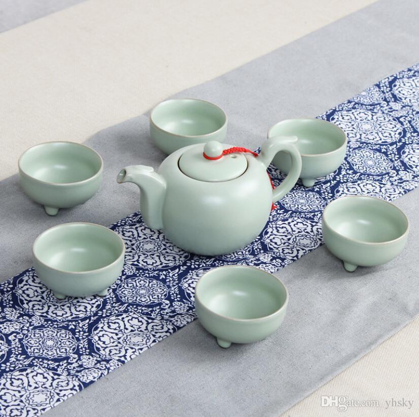 7 adet Yüksek Kaliteli Kahve Makinesi Çaydanlık Seti Taşınabilir Seyahat Kung Fu Çay Seti Seramik Çay Seti Toptan