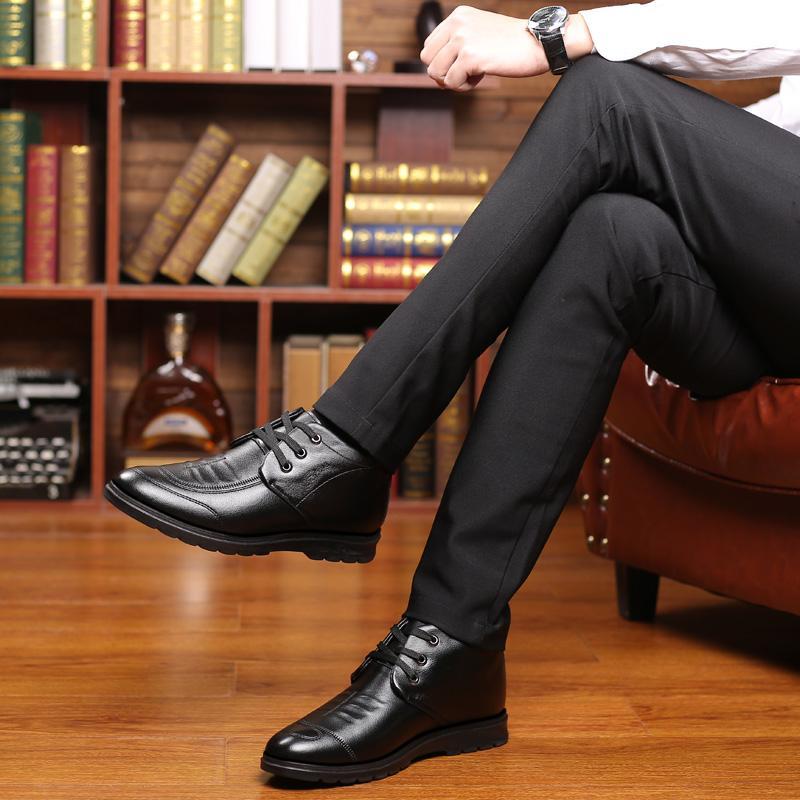 hommes flats cuir en cuir véritable Homme chaussures d'affaires mocassins lacent chaussures de marche occasionnels Plus chaussures d'hiver de velours * 9210