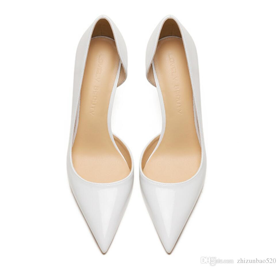 Casual Designer Sexy lady fashion WHITE PATENT LEATHER point toe high heels pumps 12cm 10cm 8cm Stiletto heeled bride wedding shoes new