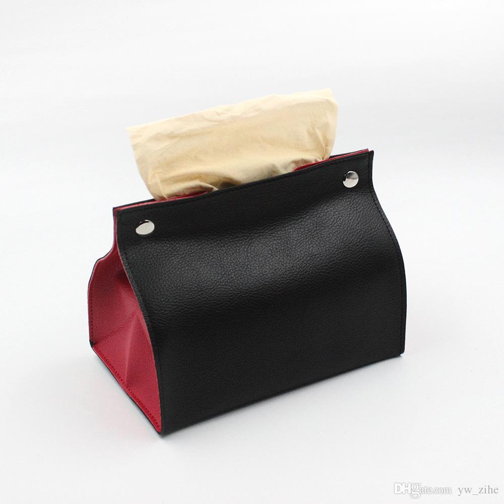 Foldable Tissue Box Leather Paper Towel Dust Cover Storage Box Portable Debris Organizer Home Organizer Bedroom Car Decoration wh0291