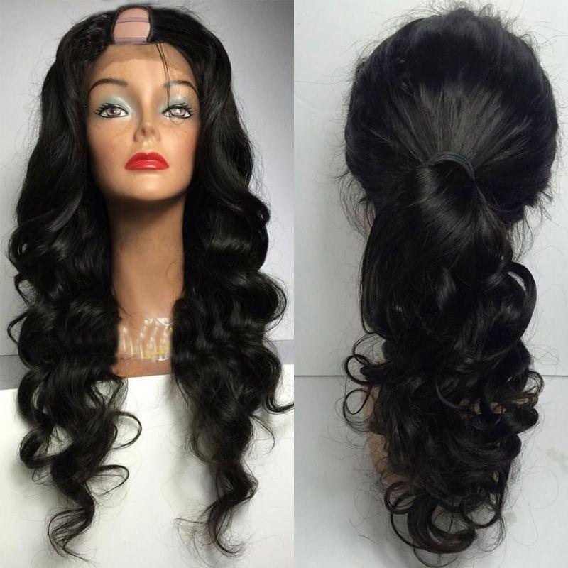 Unverarbeitete Jungfrau-brasilianisches Körper-Wellen-Menschenhaar U Teil Perücken Remy Haar Upart Perücke Mittel U Perücke für schwarze Frauen-Shaped