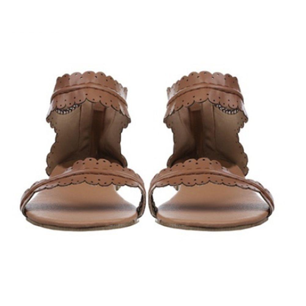 Brand Women Retro Flats Leather Bohemia Sandals Female Open Toe Beach Shoes Lady Zip Casual Flip Flop Sandalias Size 35-41