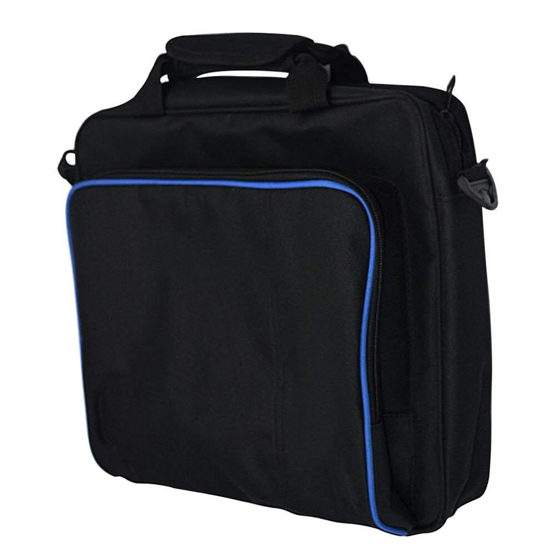 Sacoche, Sac épaule en taffetas Portable Durable robuste en nylon Voyage Sac pour Console Videogame PS4, PS4 Slim Black-Grand