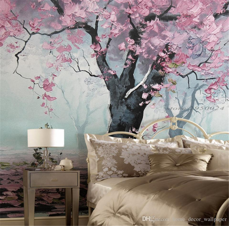 custom modern 3d high quality non-woven wallpaper mural romance tree oil painting study bedroom tv background wall home decor