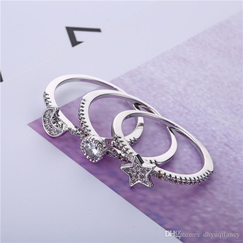 Anello in argento Diamond Moon Star anelli aperti Rgin regolabili anelli gioielli per le donne e dropship sabbioso