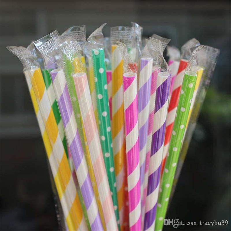 19.7cm*6mm straight coloful paper straws with individual paper membrance package eco-friendly party straw pipes for drinking juice wholesale