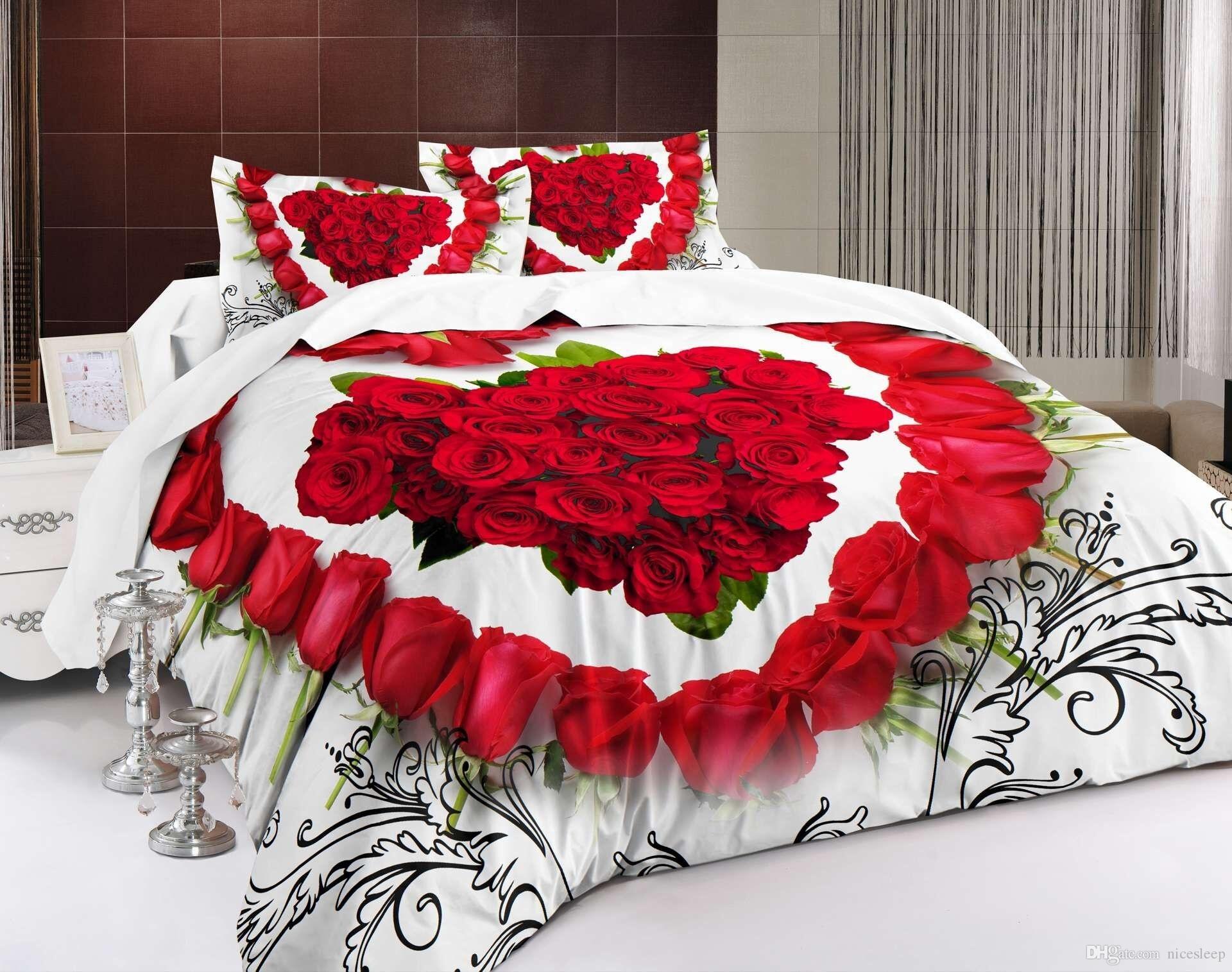Novo Design 3D Flores Vermelhas jogo de Cama coração Impresso Cama Colcha Lençóis Capa de Edredão Set Rainha