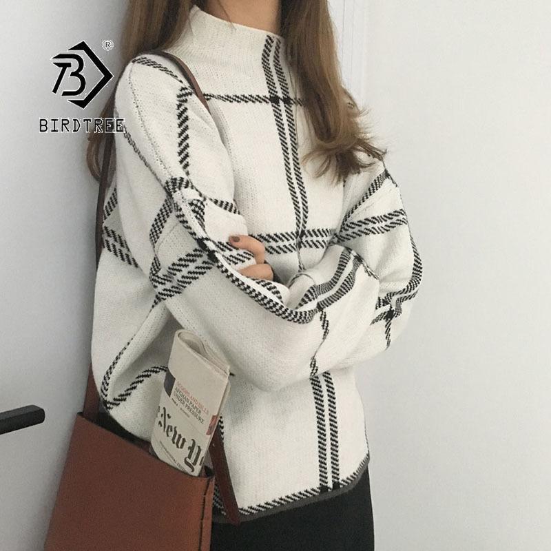 Casual pullover maglione di modo Plaid Turtleneck allentato Knit pieno coreano manica 2019 Ins inverno nuove donne supera T98301D T200101