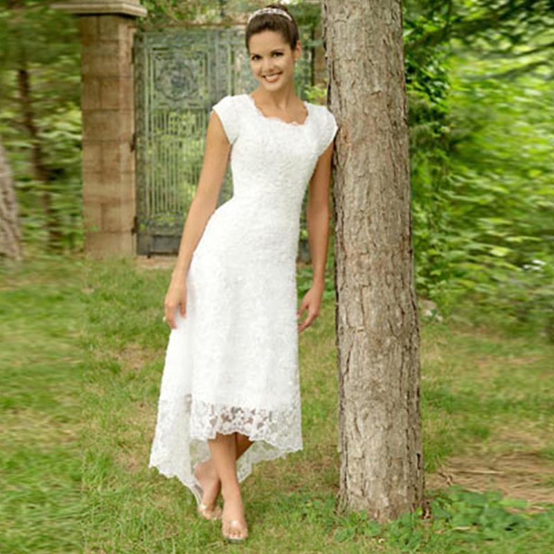 Merletto modesto A-line pieno abiti da sposa scollo tè lunghezza Abiti da sposa Grden Paese Alto abiti da sposa Basso