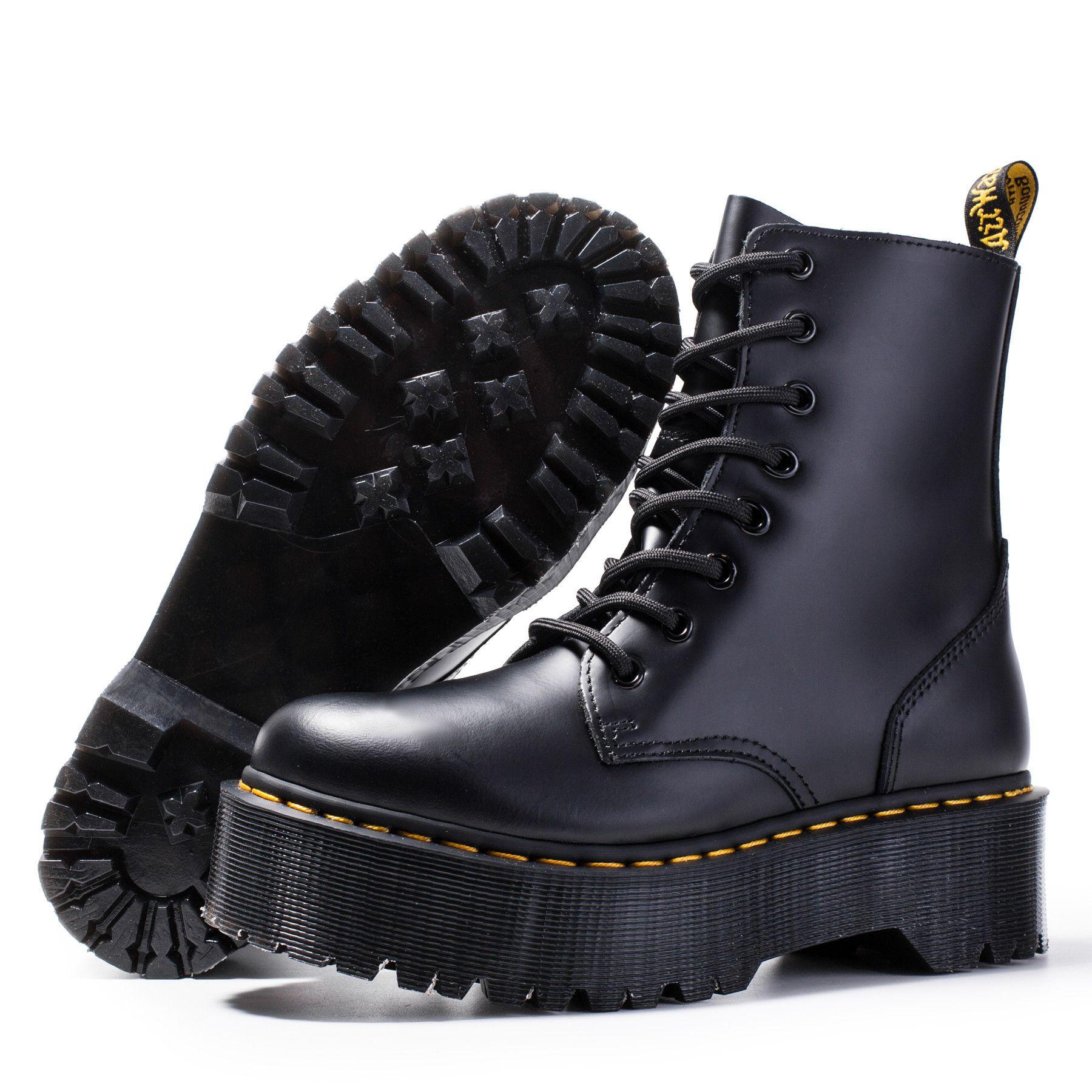Tons de salto grossos Martin botas sapatos de tornozelo Botas de couro genuíno Botas de vaca Sola de vaca Lace Up Botão de Salto Chunky para Senhoras ZY8472 A18