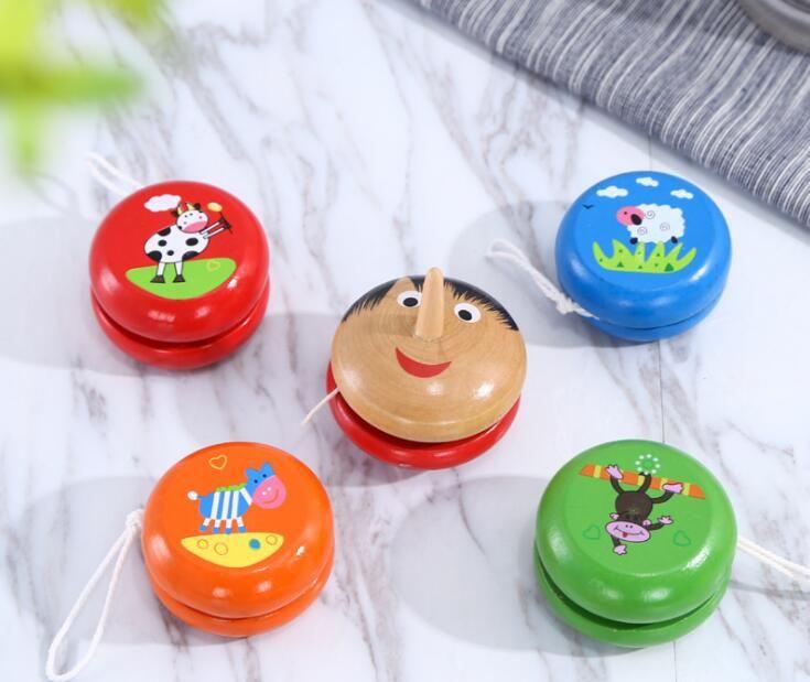Деревянный мультфильм йо-йо мяч творческие детские игрушки спортивные йо-йо случайные цвета игрушка мяч оптовая продажа бесплатная доставка