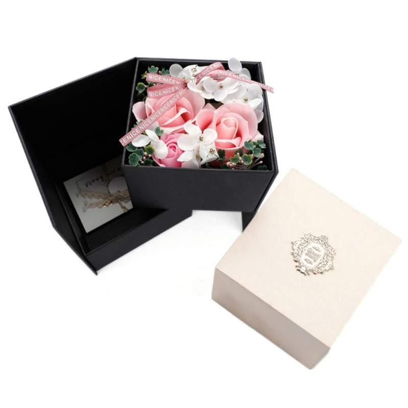 Simulation Rose Savon Fleur Rotatif Boîte cadeau Savon fleur Saint Valentin cadeau d'anniversaire de mariage Souvenir Décoration