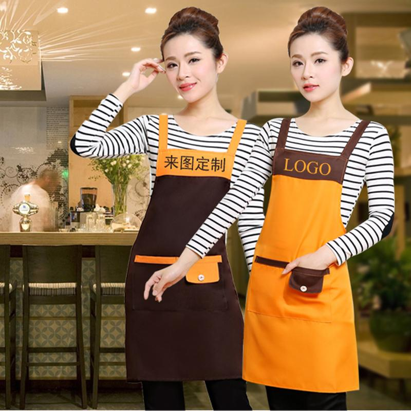 Sleeveless Waterproof Apron Kitchen Restaurant Nail Fruit Shop Hotel Waiter Overall Clothes print free