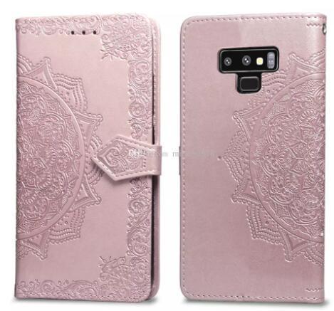 2019 Datura flores Fundas de cuero para billeteras Estuche con patrón de loto para Iphone X XR XS MAX 8 7 6 6S SAMSUNG Galaxy Note 9 J4 J6 S9 ID CARD Ranura Encaje