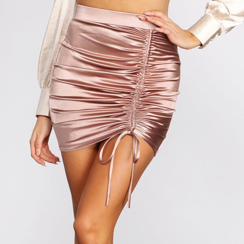 Sexy Jupe plissée femmes Summer Street Fashion Noir Rose élégant taille haute Sac Hip Mini Party Jupe moulante Jupes Clubwear