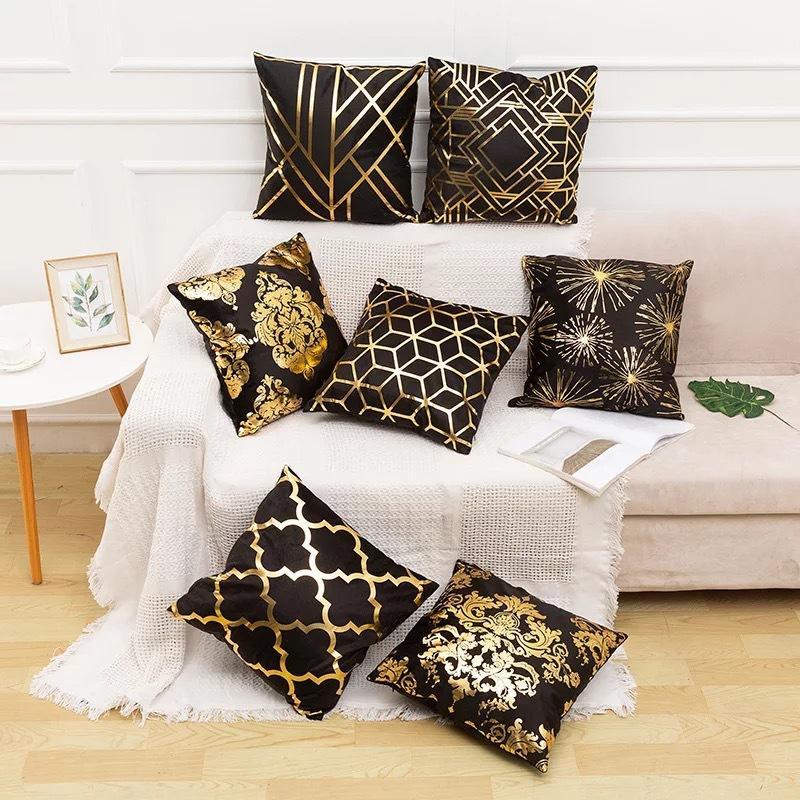 Preto Folha Bronzing Pillowcase 45 * 45 centímetros Super macio Velvet Bronzing sofa capa de almofada DHL Shipping XD23319