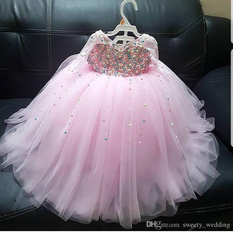 Lüks Pembe İnciler Çiçek Kız Elbise Uzun Kollu Tül Küçük Kız Gelinlik Vintage Artı boyutu komünyon Yarışması Elbise Modelleri