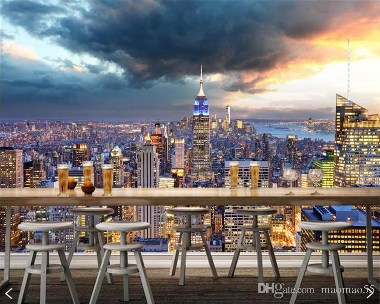 PAPEL 드 미국 고층 빌딩이 뉴욕시 맨해튼의 구름 룸 소파 TV 벽 침실 바 벽화 생활, 벽지를 구축 깎았