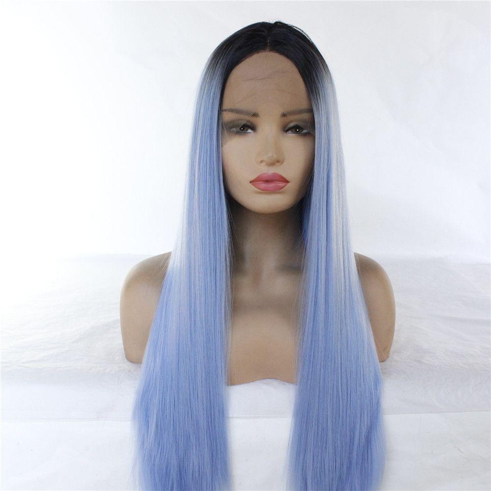 Новое поступление Популярные светло-голубой цвет ломбера длинные волосы прямые парики из жаропрочного волокна париков 12 «-26» для выбора
