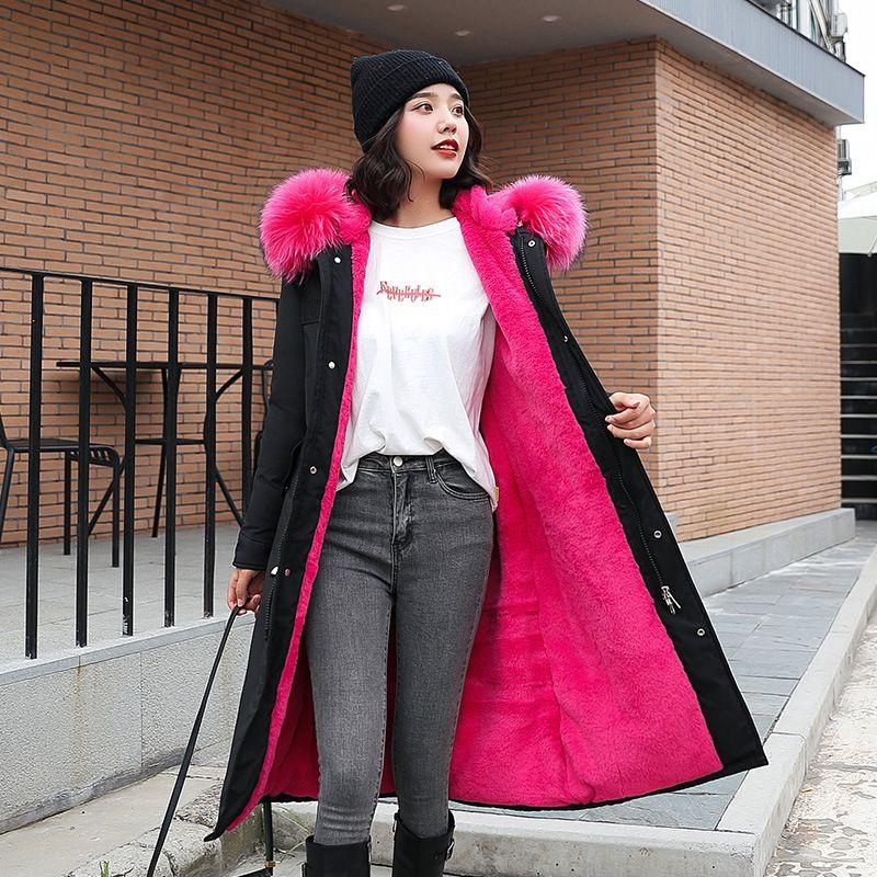 Les dames manteau rembourré coton femmes élégantes dames-moulage du corps de la femme coréenne grand manteau de coton en peluche à capuchon de col de fourrure