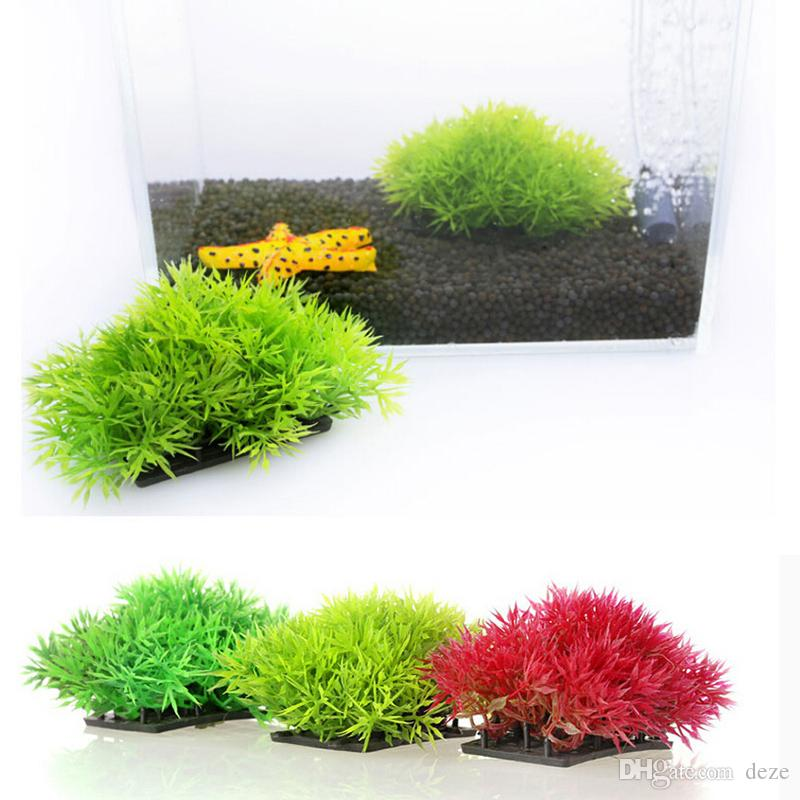 Toptan 10PCs küçük Akvaryum Yapay Çim Topu Su Bitkileri Ana Süsleme Plastik Fish Tank Dekorasyon Dekor Bitkiler