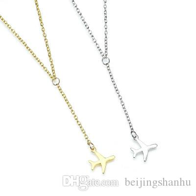 2019 Silver Gold Gun Black Plane Necklace Airplane Pendant Necklace Aircraft Chain Layered Necklace For Women N1250
