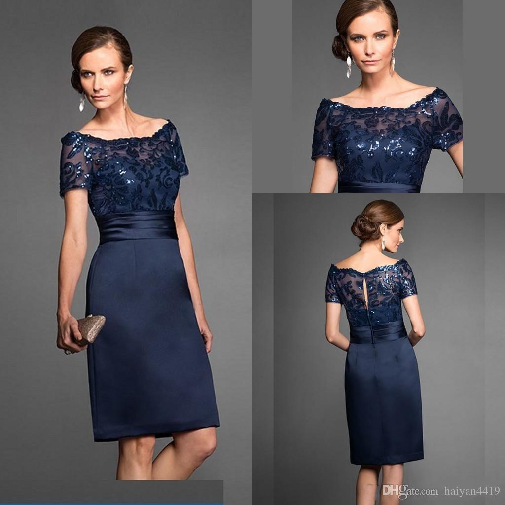 New Cheap Navy Blue Mother Of The Bride Dresses Scoop Neck Short Sleeves Lace Aequins Knee Length Custom Wedding Guest Evening Gowns