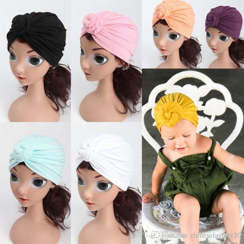 INS Crianças Nó Turbante Chapéus Crianças Simplesmente Sólidos Envoltórios Infantis Índia Chapéus Bebê Inverno Gorro