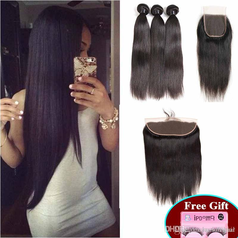 Brésil Human Bundles cheveux avec dentelle fermeture 4x4 4pcs droites Lot indien Vierge cheveux Tissages Avec 4X4 Dentelle Fermeture droite