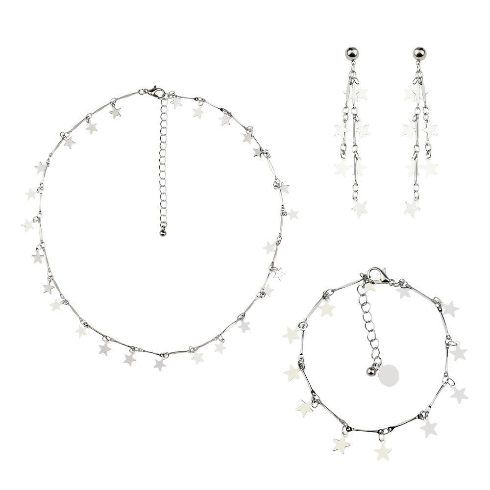 새로운 뜨거운 판매 간단한 야생 기하학적 인 성격 작은 별 목걸이 여성 오각형 짧은 목걸이 팔찌 귀걸이