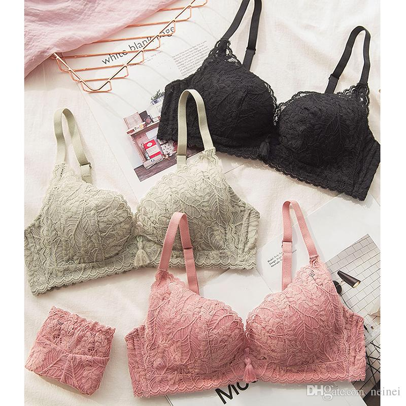 Women New Underwear Set Sexy Seamless Fashion Wire Free Lace Bra Set Young Girl Sexy Lingerie Suits Deep V Push Up Thin Bra Sets