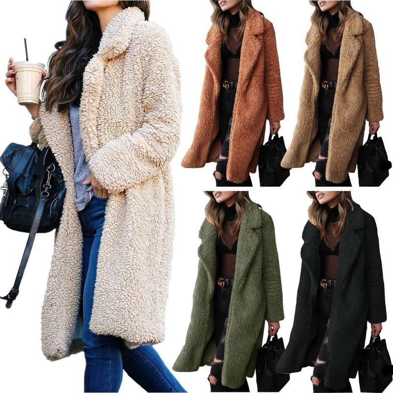 Laine mélange femmes vestes chaudes bureau dame long confortable peluche manteaux en molleton automne hiver streetwear flouage floue de cardigan -85
