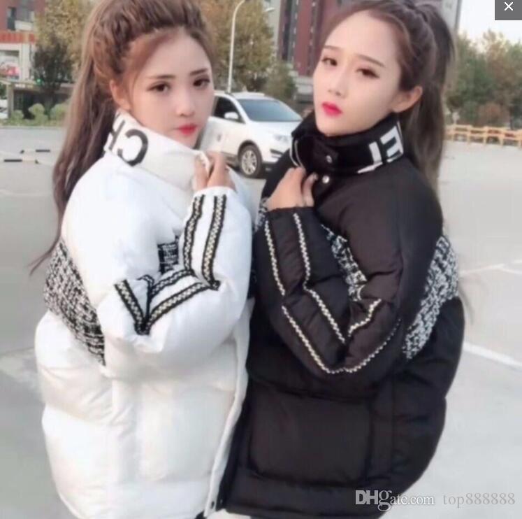 Frauen super warme Mantel sexy weiche Jacke Fashion Marke Dame geschmeidige Klassischer OL Winter-Thick Stehen Kragen flauschiger Brief Spleiß Daunenjacke