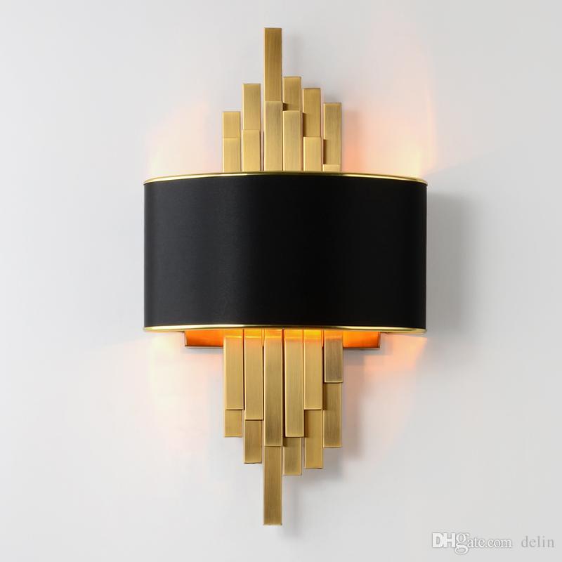 Applique da parete oro Apparecchi di illuminazione Camera da letto Soggiorno Lampada da parete paralume nero Lampada da parete a LED AC90-260V