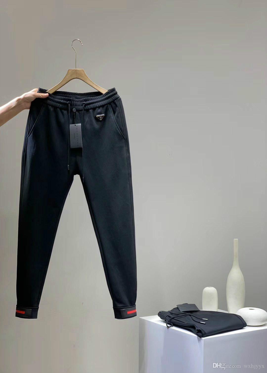 Americana mens Pantaloni Classic ricamato alfabeto logo in metallo spessa tessuto completa di pantaloni neri di moda per uomini