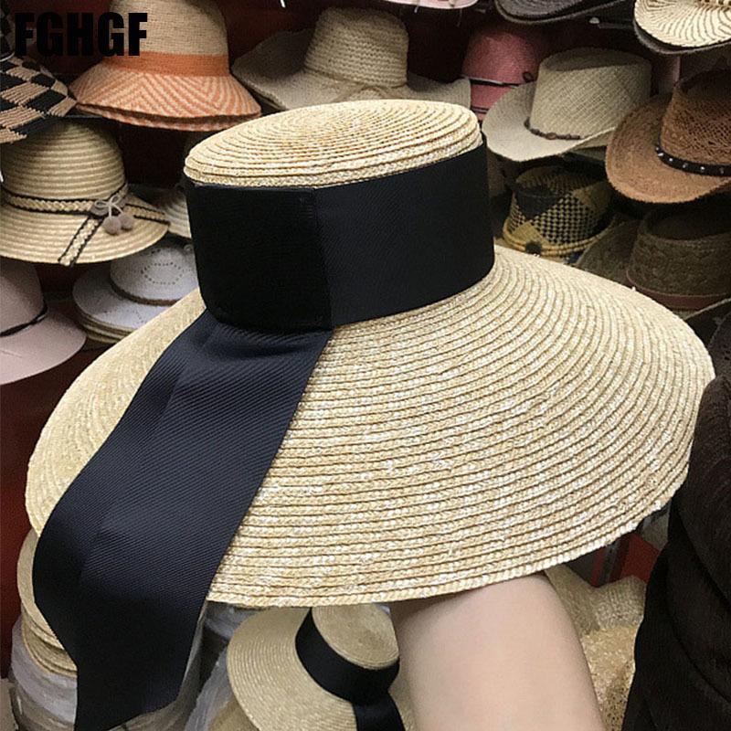 Fghghf الطبيعية النساء القبعات الشمس الشريط الأسود 9 سنتيمتر 13 سنتيمتر 15 سنتيمتر شقة أعلى كبيرة واسعة بريم سترو القبعات سترو قبعة chapeu سمبريرو القبعات الشاطئ D19011106