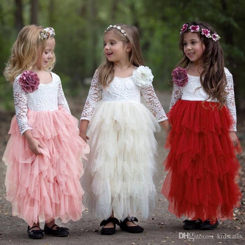Muchacha de los cabritos del vestido floral de las muchachas de flor de la princesa vestidos de fiesta largo manga de los niños tutú de los vestidos del cordón del vestido Boutique Ropa para Niños DHW3878