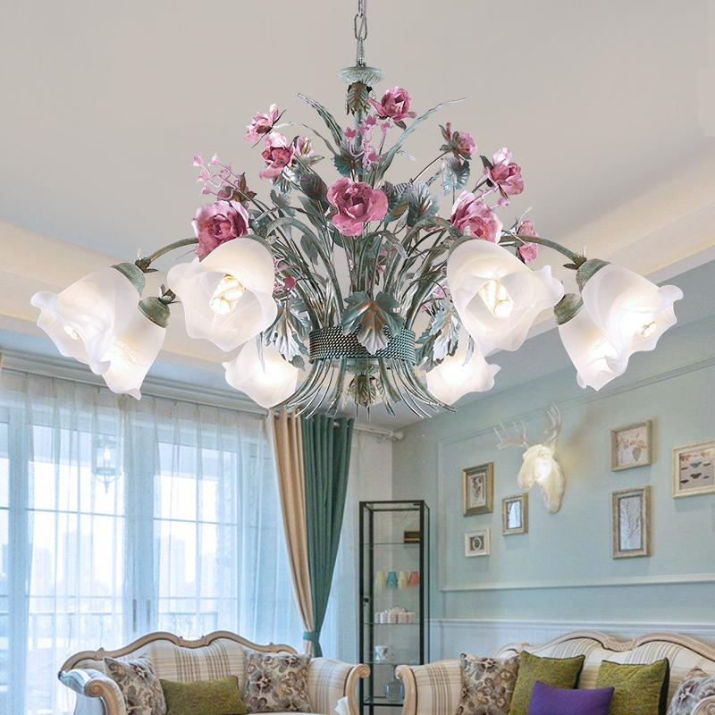 꽃 LED 펜던트 샹들리에 룸 호텔 실내 침실 매달려은 D74 조명 살고 램프 고급 로즈 조명기구를 중단