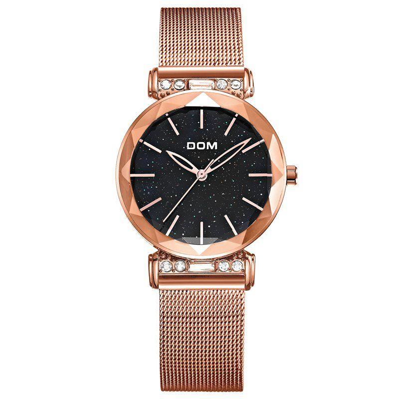 El cielo estrellado DOM lujo Mujer relojes del reloj Negro ocasional de la manera Mujer Reloj impermeable Damas de acero vestido reloj G-1245GK-1M