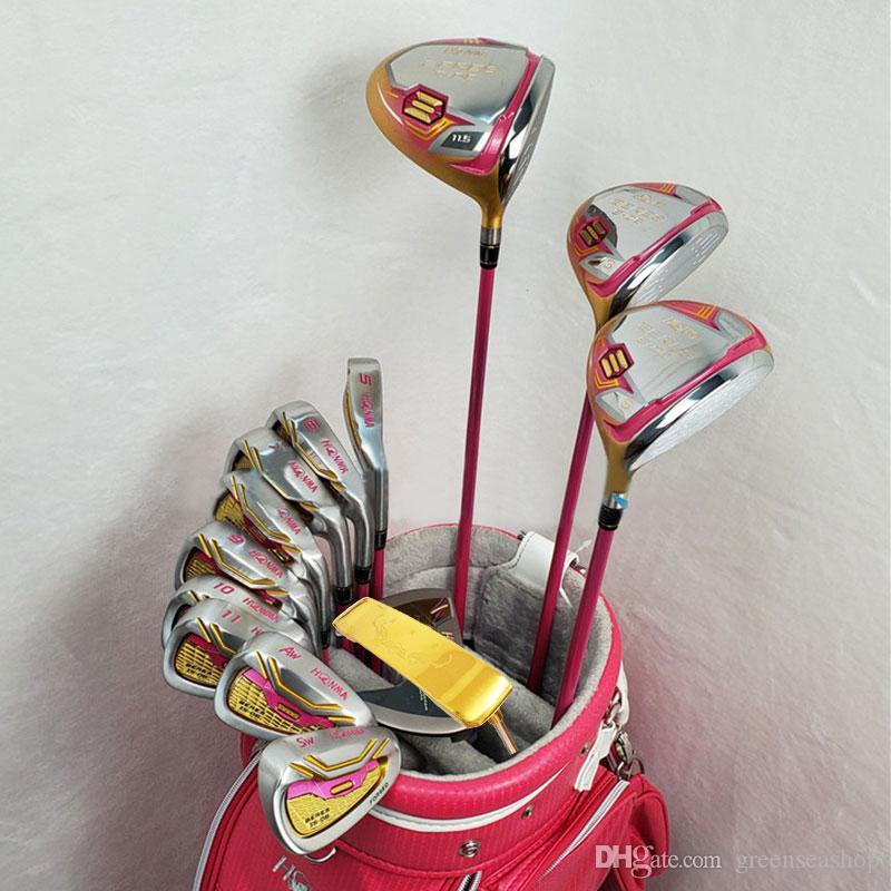 Nueva Palos de golf para mujer S-06 4 estrellas Golf conjunto completo de madera de clubes del conductor + fairway sin eje del golf bolsa de grafito y el envío libre de cubierta para la cabeza